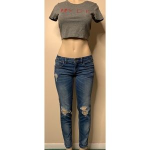 Free people size W27 skinny destroyed denim